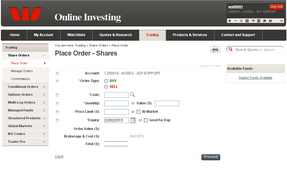 Place Order Shares