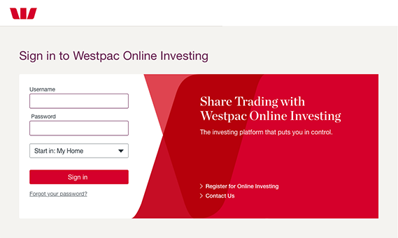 Sign in to Westpac Online Investing